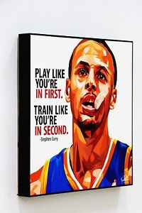 "Steph Curry Poster Plaque with Quote ""Play like you're in first."