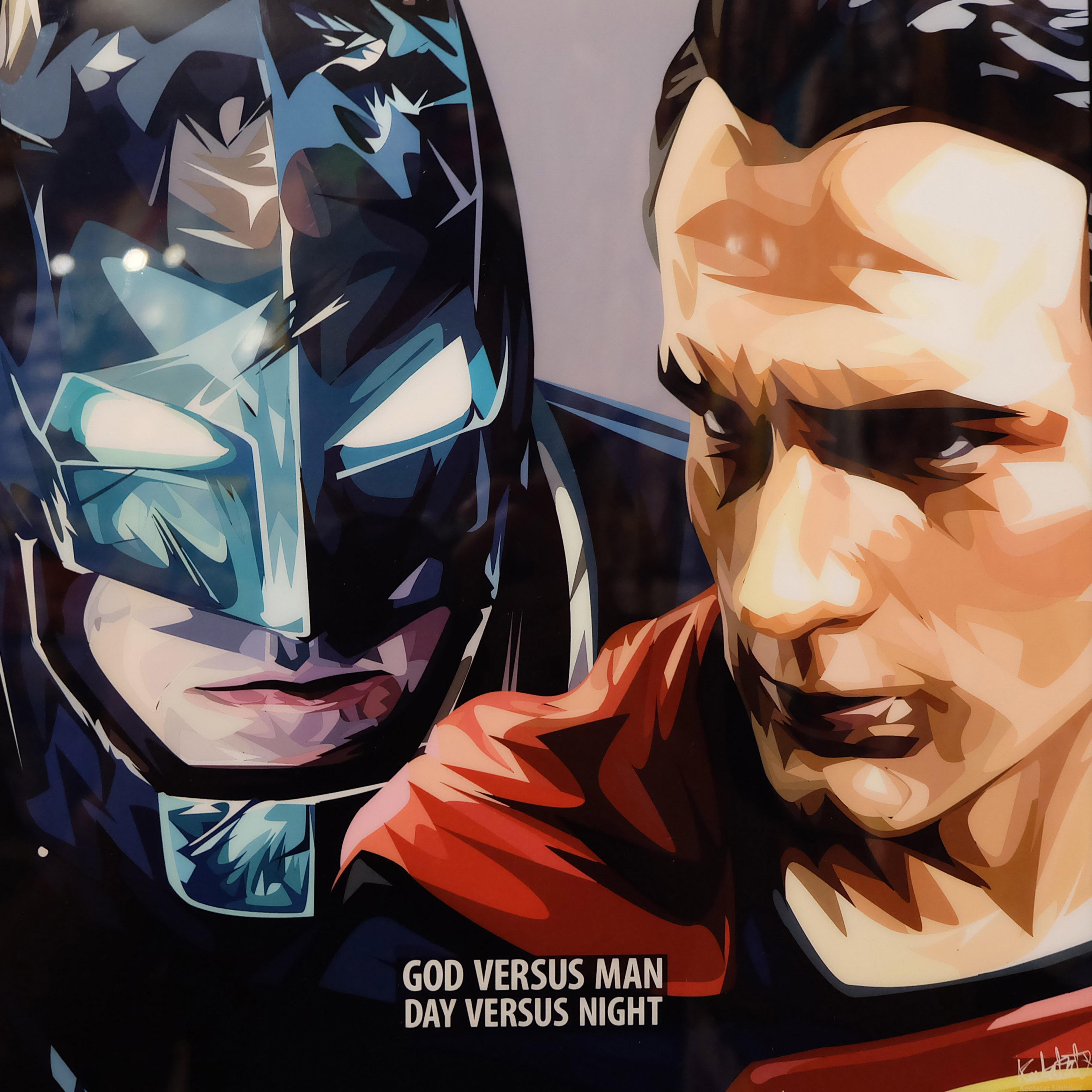"""Unique Batman Vs Superman Bedroom Ideas That Rock: Batman & Superman Inspired Plaque Mounted Poster """"Day Vs"""