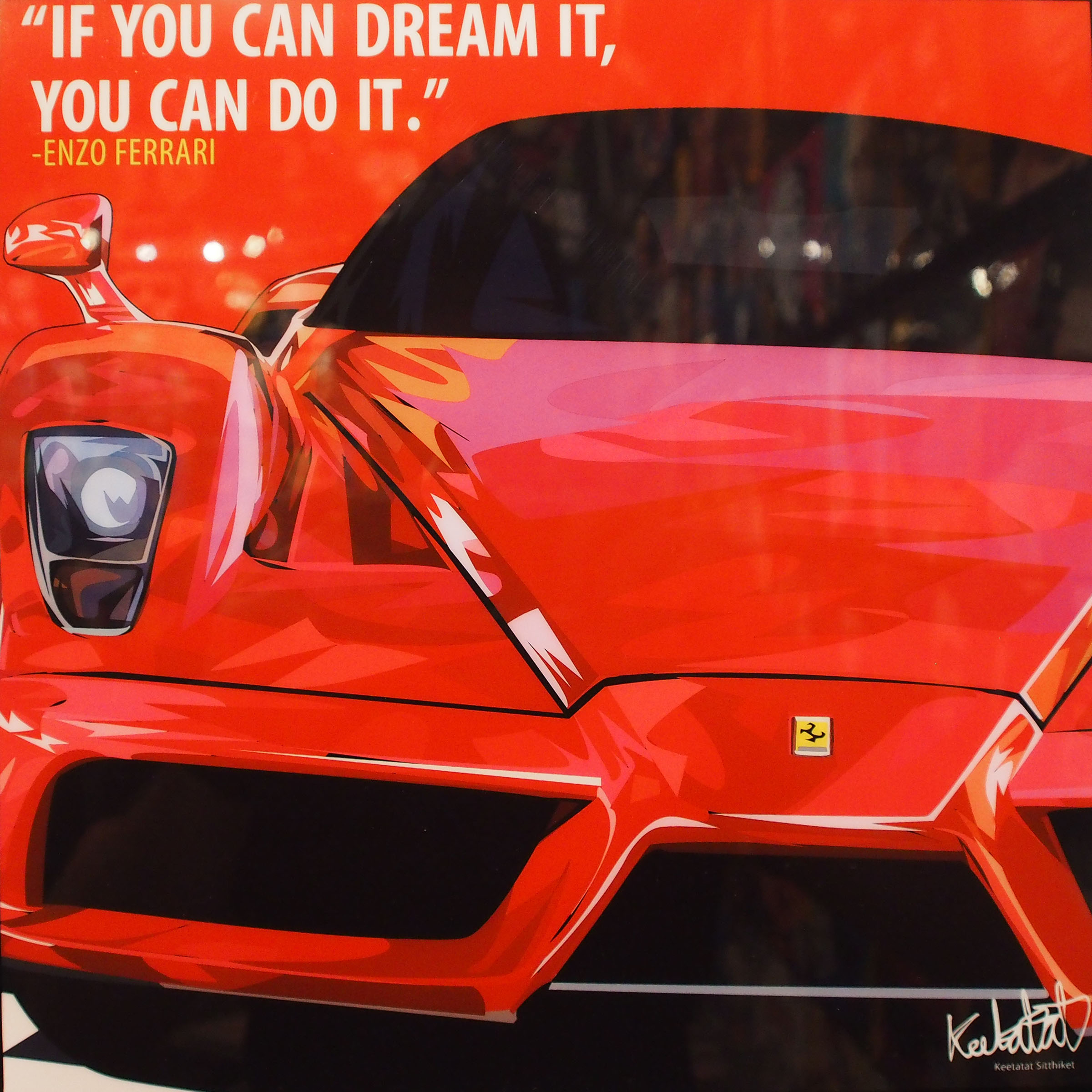 """Ferrari Inspired Mounted Plaque Poster """"If You Can Dream"""