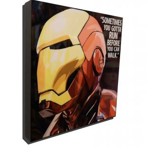 """Iron Man Inspired Plaque Mounted Poster """"Run before you can walk"""""""