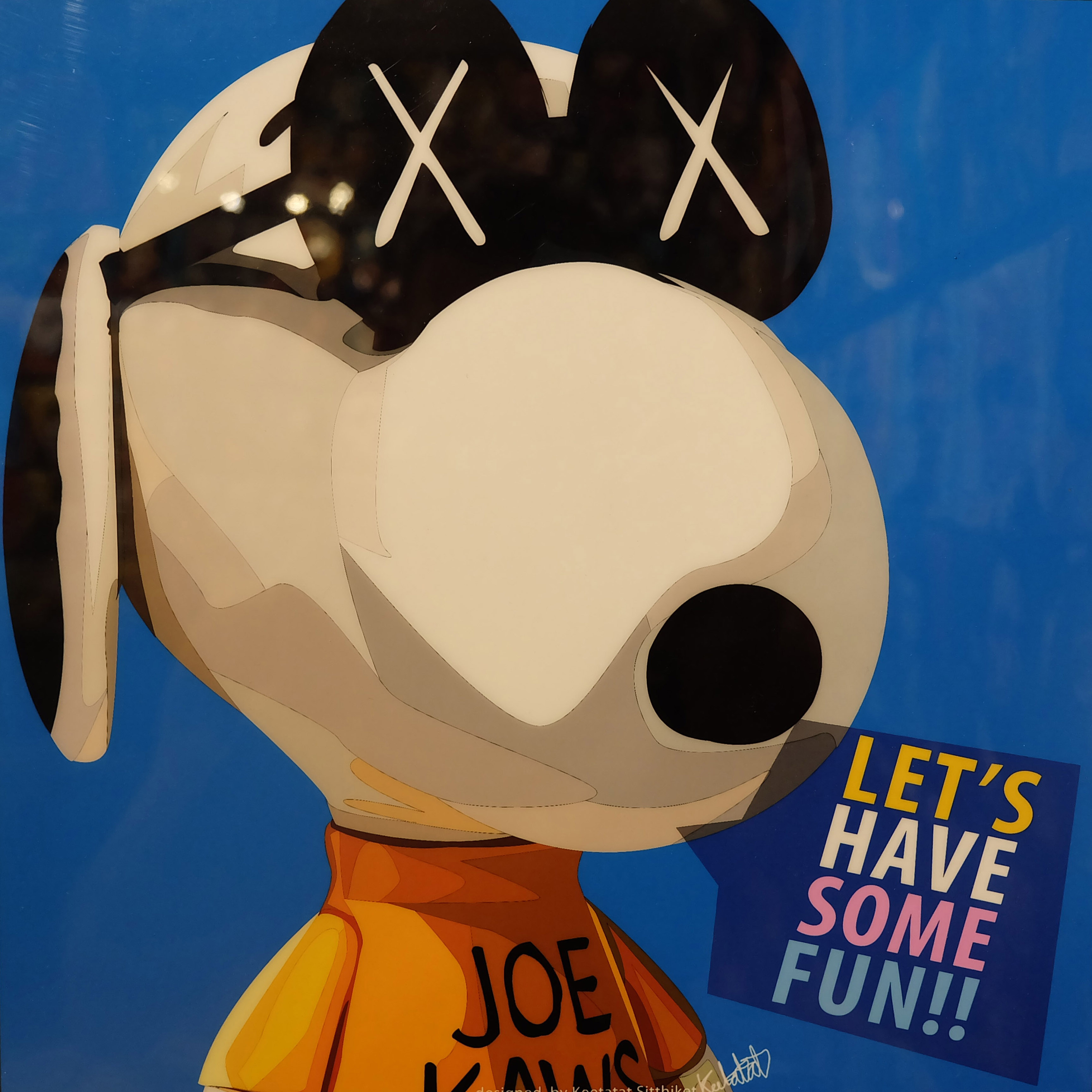 """KAWS Snoopy Inspired Plaque Mounted Poster """"Let's have"""