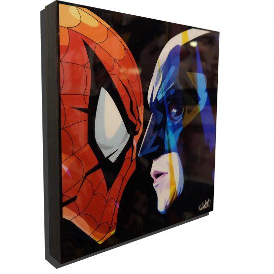 Marvel vs DC PosterPlaque featuring Spider man & Batman