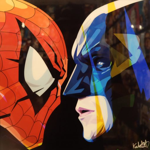 Marvel vs DC Poster Plaque featuring Spider man & Batman