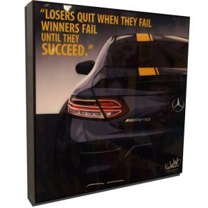 """AMG Mercedes SLS Black Inspired Mounted Plaque Poster """"Losers Quit"""""""