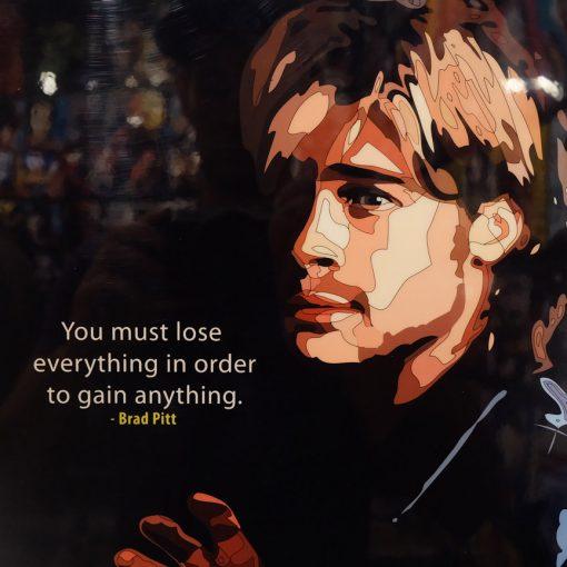 Brad Pitt Poster Plaque Black