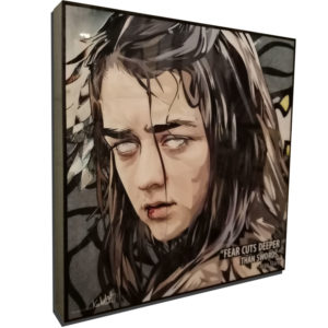 "Arya Stark Inspired Plaque Mounted Poster ""Fear cuts deeper than swords"""