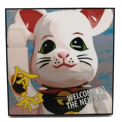 """Bearbrick Lucky Cat White Pop Art Poster by Keetatat Sitthiket """"Welcome to the new era"""""""