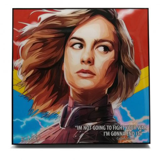 """Captain Marvel Pop Art Poster by Keetatat Sitthiket """"I'm not going to fight your war I'm gonna end it"""""""