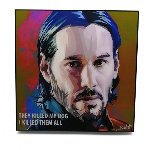 "John Wick Pop Art Poster by Keetatat Sitthiket ""They killed my dog I killed all of them"""