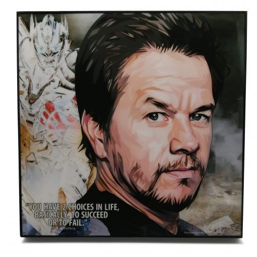 """Mark Wahlberg Pop Art Poster by Keetatat Sitthiket """"You have 2 choices in life, basically, to succeed or to fail"""""""